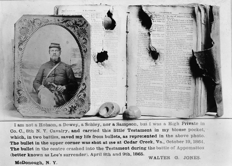 New Testament with bullet holes from Civil War