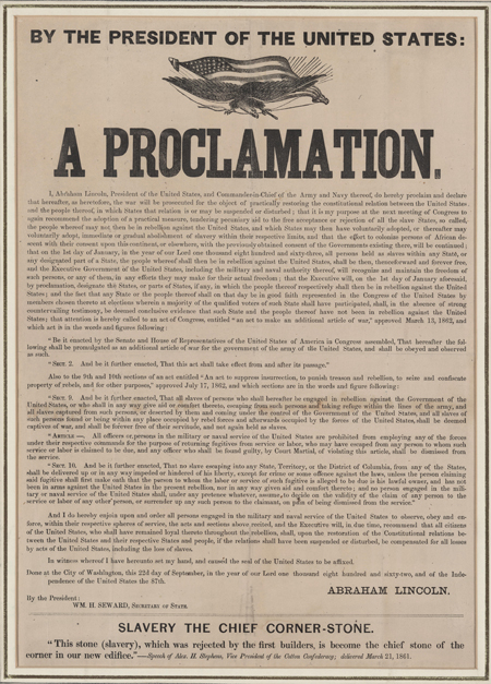 Preliminary emancipation proclamation