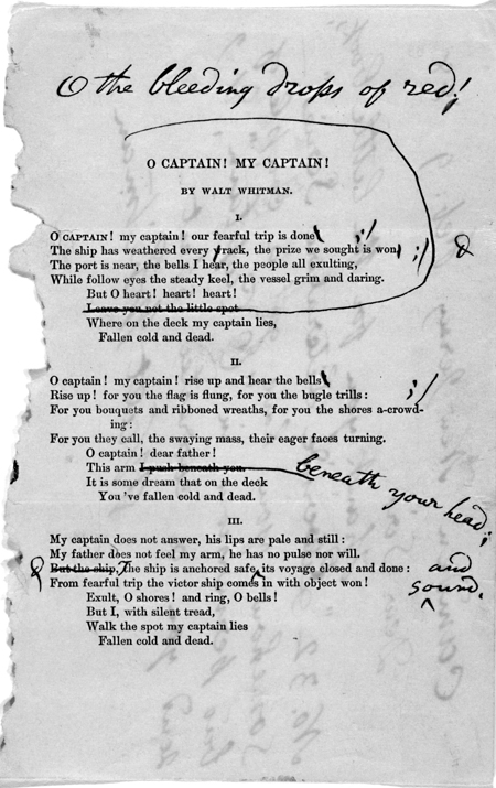 """Letter and corrected reprint of Walt Whitman's """"O Captain, My Captain"""" with comments by author, 9 February 1888."""