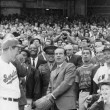 Pres. Richard Nixon tossing out baseball, at Senators' opening game with New York, Washington, D.C.