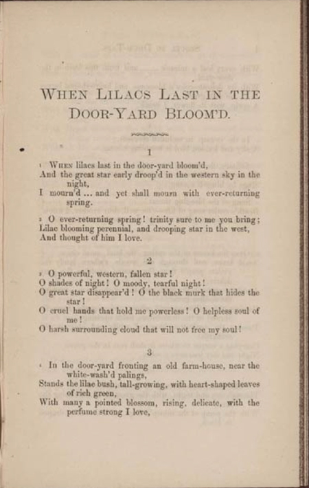 """When Lilacs Last In the Dooryard Bloom'd"" Drum-Taps (second issue). New York: 1865"