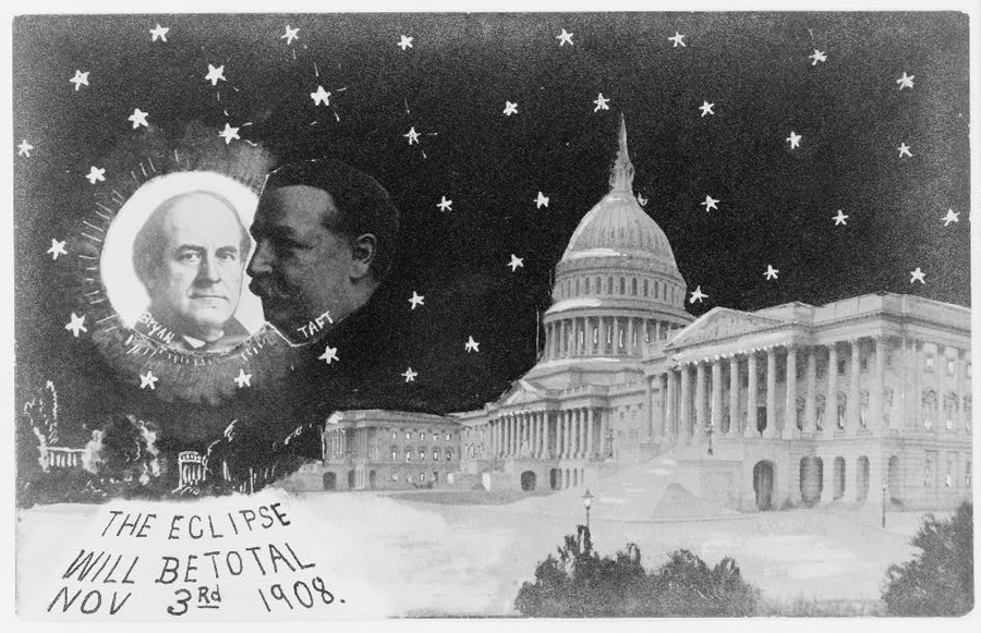 U.S. Capitol at night with stars, Taft as moon, about to eclipse William Jennings Bryan as sun