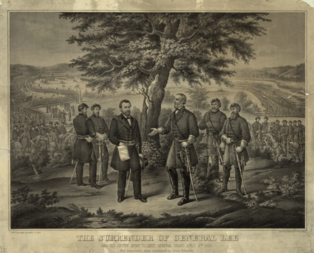 The surrender of General Lee and his entire Army to Lieut. General Grant April 9th 1865