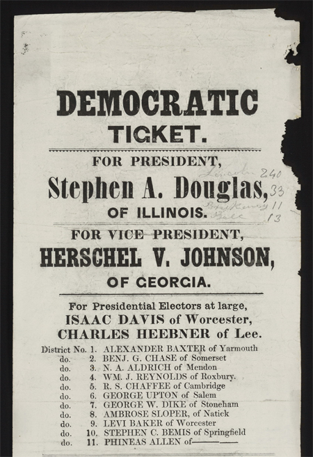 Democratic ticket. For President, Stephen A. Douglas, of Illinois.