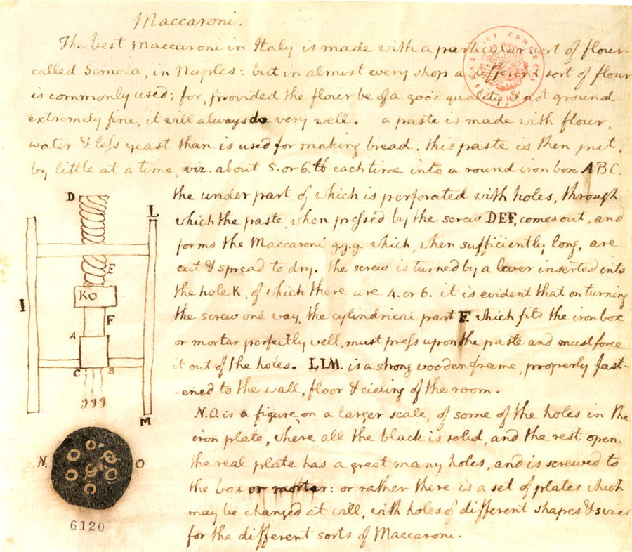 "Thomas Jefferson [""Maccaroni"" machine with instructions for making pasta] Holograph drawing and text, 1787"