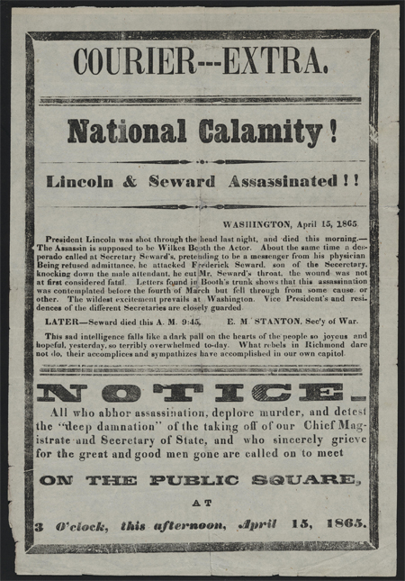 National calamity! Lincoln & Seward assassinated!!