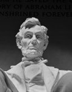 Close-up view of the statue of Abraham Lincoln