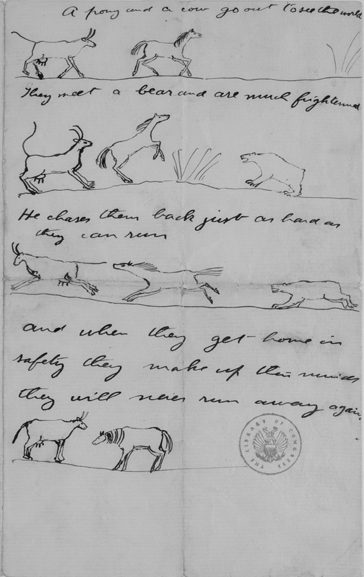 Letter with illustrated fable, Theodore Roosevelt to Theodore Roosevelt, Jr., 11 July 1890.