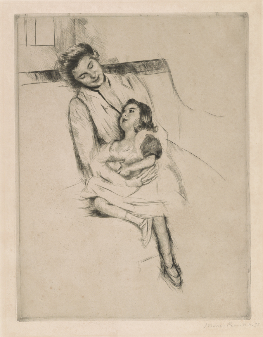 Jeannette and her mother seated on a sofa