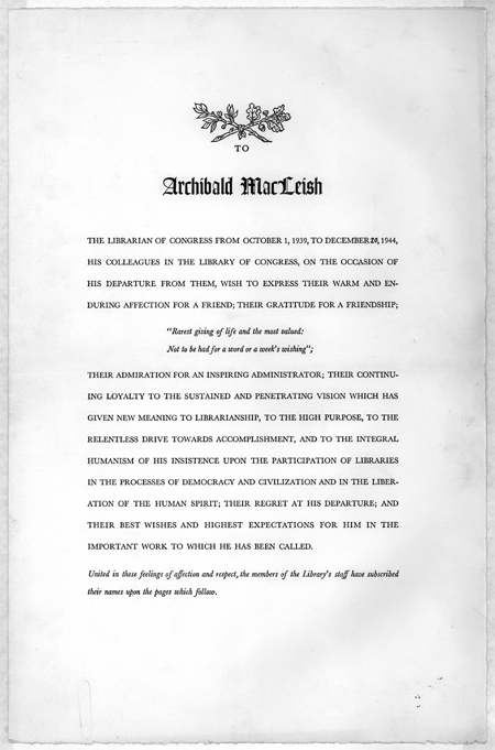 """Scroll, """"To Archibald MacLeish,"""" 1944"""