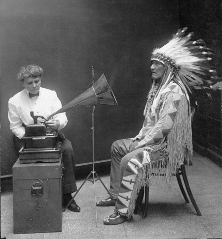 Piegan Indian, Mountain Chief, having his voice recorded