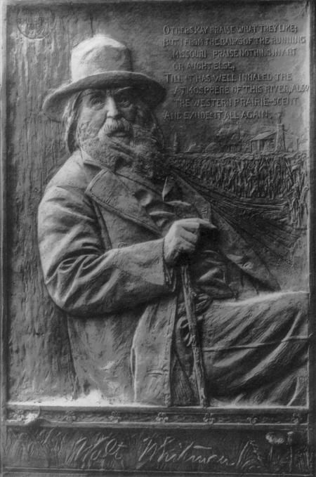 Walt Whitman, 1819-1892, half-length portrait, seated, facing right