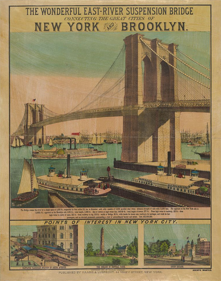 The wonderful East-River suspension bridge connecting the great cities of New York and Brooklyn