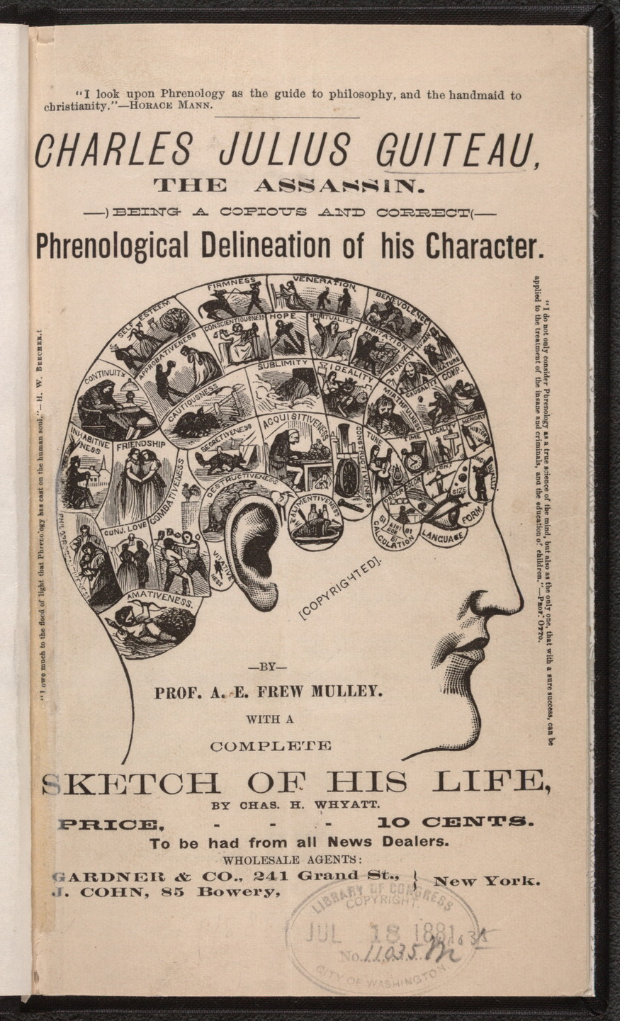 Charles Julius Guiteau, the assassin. Being a copious and correct phrenological delineation of his character
