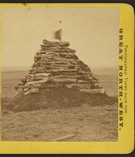 The monument on Custer's hill, containing all the bones found on the field
