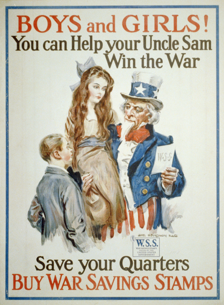Boys and girls! You can help your Uncle Sam win the war - save your quarters, buy War Savings Stamps