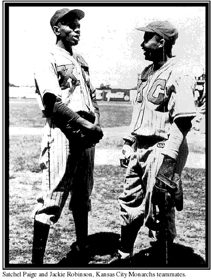 Satchel Paige and Jackie Robinson, Kansas City Monarchs teammates