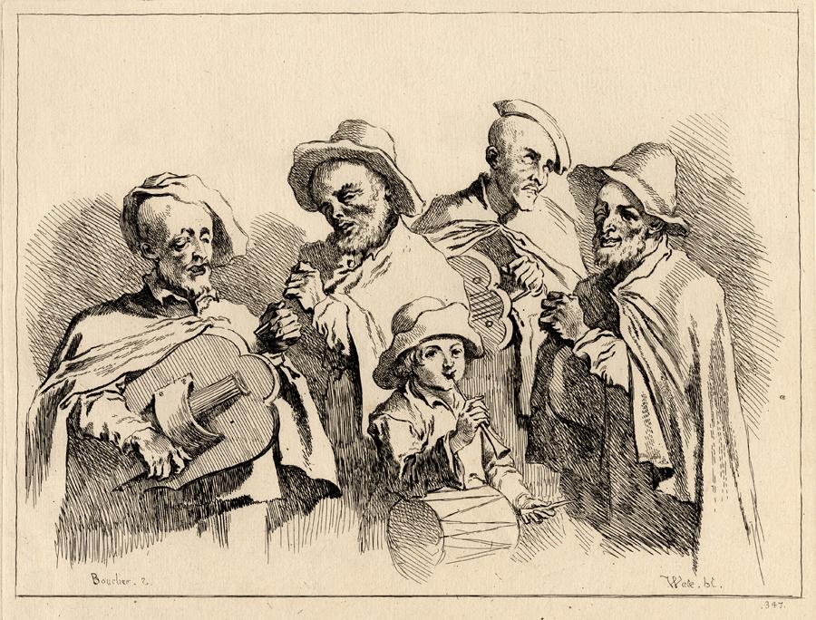 Cinq musiciens ambulant