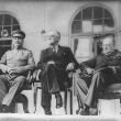 Roosevelt, Stalin, and Churchill on portico of Russian Embassy in Teheran