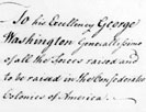 To His Excellency George Washington