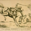 The horse America, throwing his master