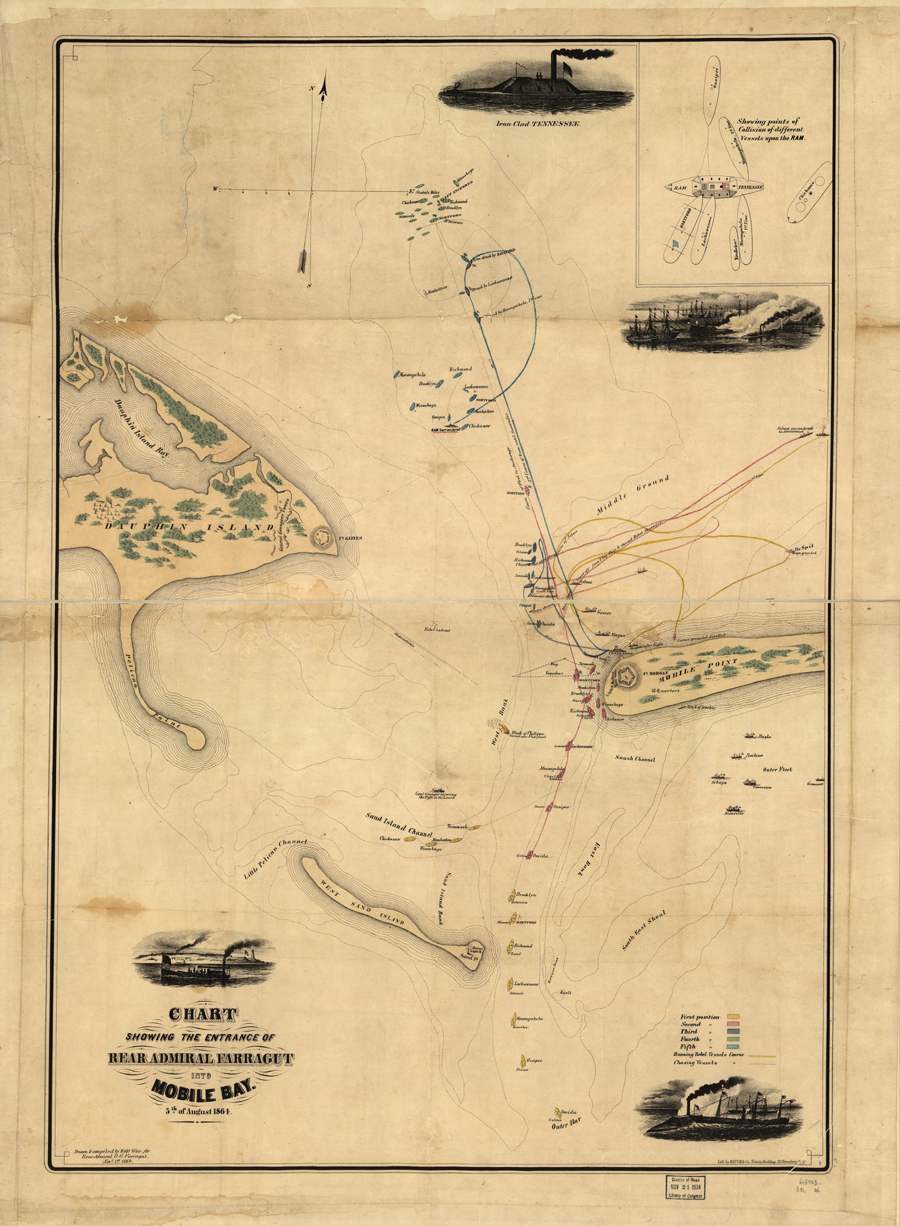 Chart showing the entrance of Rear Admiral Farragut into Mobile Bay 5th of August 1864