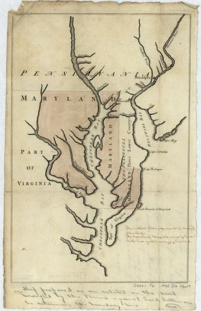 Map of the Maryland-Pennsylvania boundary used as trial exhibit in the 1735 court suit brought by the Penns against Lord Baltimore to determine the official interprovincial boundary line