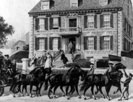 Boston, Mass., Gov. John Hancock mansion with carriage drawn by six horses in foreground