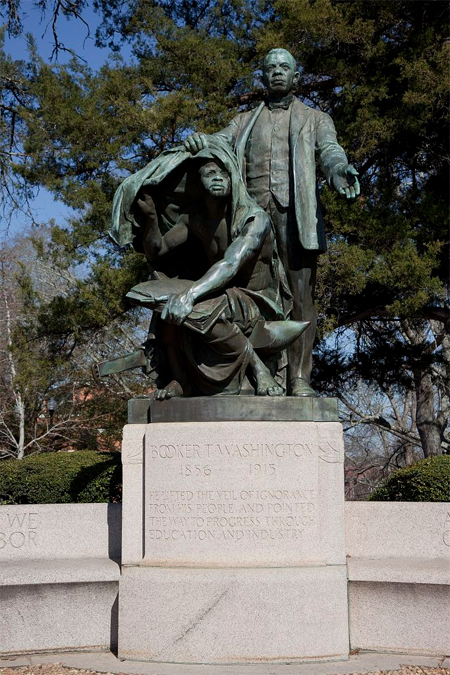 "Statue of Booker T. Washington ""Lifting the Veil of Ignorance"""