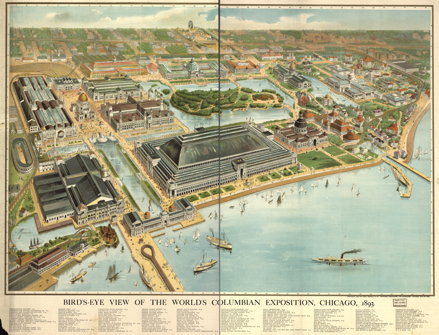 Bird's eye view of the World's Columbian Exposition, Chicago, 1893