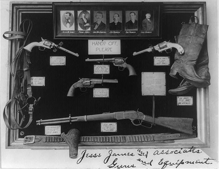 Jesse James and associates. Guns and equipment