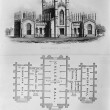 Yale University ENGRAVING, EAST FACADE: FLOOR PLAN