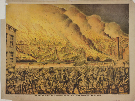 The Great fire at Chicago Oct. 9th 1871. View from the west side