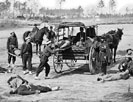 Zouave ambulance crew demonstrating removal of wounded