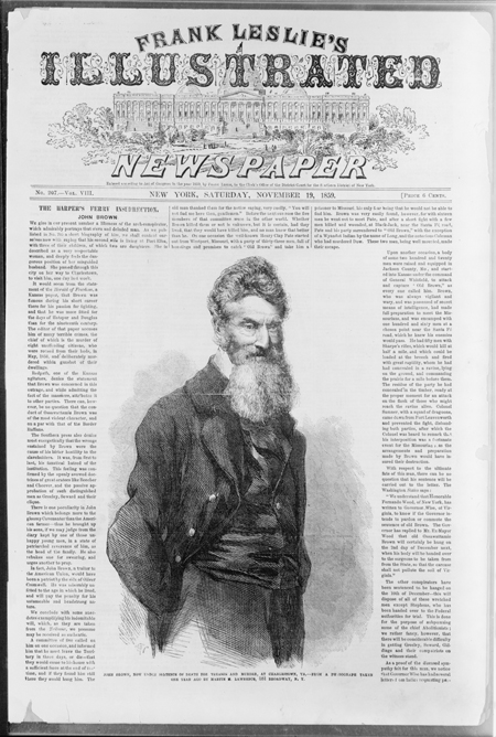 Front page of Frank Leslie's illustrated newspaper with picture of John Brown