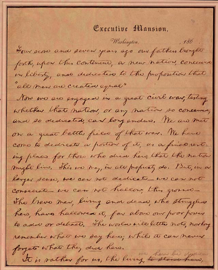 """Nicolay Copy"" Gettysburg Address"