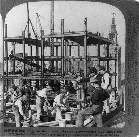 Building the great steel-framed skyscrapers - working high above the street, New York City