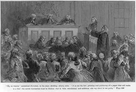 Andrew Hamilton defending John Peter Zenger in court