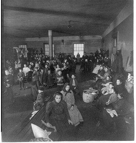 Recently arrived persons at Ellis Island, N.Y.