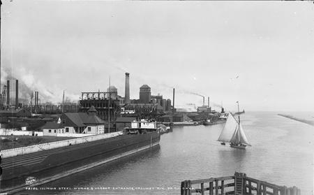 Illinois Steel Works & harbor entrance, Calumet Riv., So. Chicago