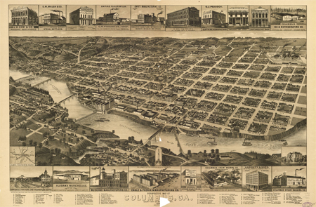 Perspective map of Columbus, Ga., 1886