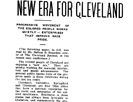 New Era for Cleveland- Progressive Movement of the Colored People Works Quietly