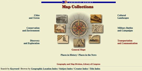 American Memory Map Collections homepage