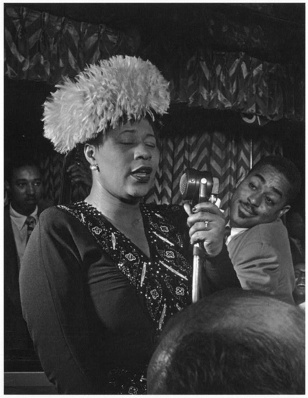 Portrait of Ella Fitzgerald, Dizzy Gillespie, Ray Brown, Milt (Milton) Jackson, and Timmie Rosenkrantz