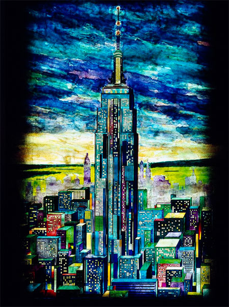 Painted glass located in the lobby of the Empire State Building