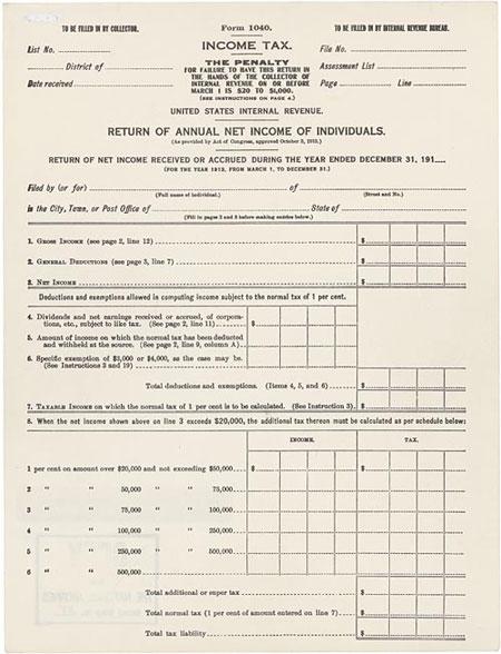 Original Form 1040 (1913)