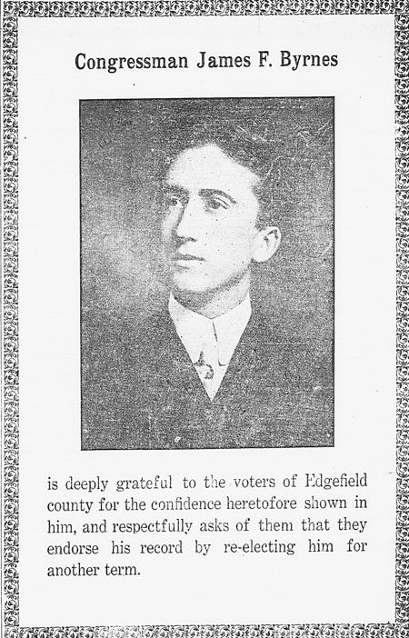 James F. Byrnes 1916 newspaper advertisement