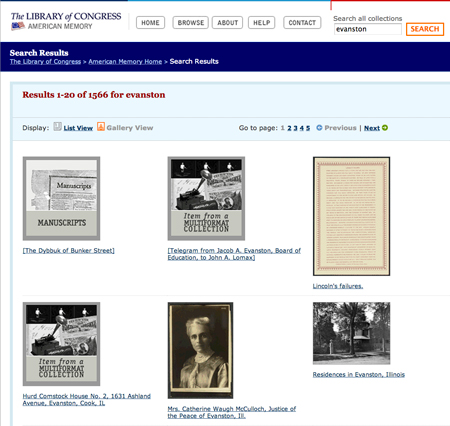 "American Memory ""Evanston"" search results list - gallery view"