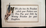 """Men who love freedom"" postcard"