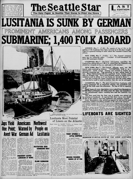 Front page, The Seattle star., May 07, 1915